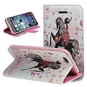 QYF Horse Girl PU Full Body Case with Stand and Rhinestone for iPhone 6