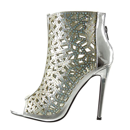 Angkorly - Zapatillas de Moda Botines Sandalias Peep-Toe stiletto sexy mujer strass multi-correa Talón Tacón de aguja alto 11 CM - Plata