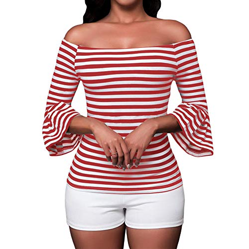 SUBWELL Women's Off Shoulder Flared Sleeve Black and White Stripe T Shirt Top Blouse (Small, Red) -