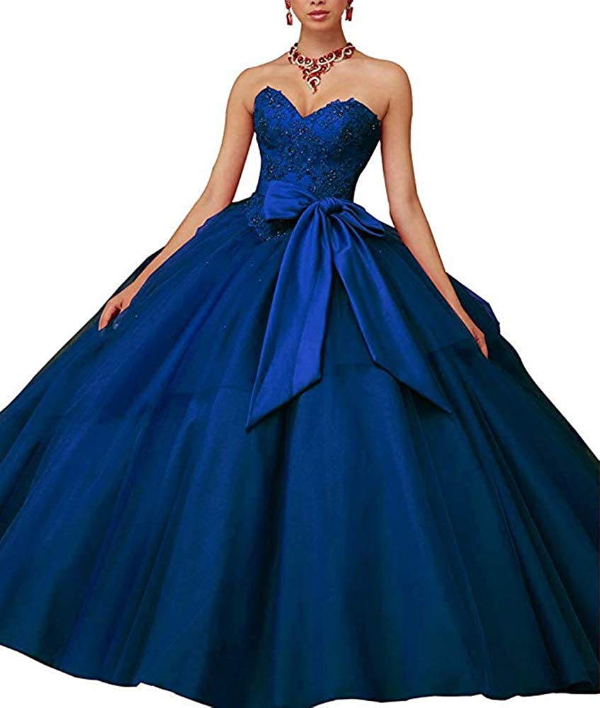 Navy bluee XSWPL Gorgeous Beaded Quinceanera Dresses with Bow Ball Gowns Sweet 16 Prom Dresses