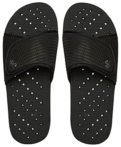 Showaflops Mens' Antimicrobial Shower & Water Sandals for Pool, Beach, Dorm and Gym - Black Slide 7/8