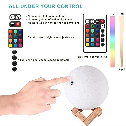 11 Inch Moon lamp 3D Moon Light Dimmable 16 Colors Rechargeable Moon Night Light Full Set with Wooden Stand, Remote & Touch Control - Cool Nursery Decor for Baby, Top Christmas Gift (28 cm/11 inch)