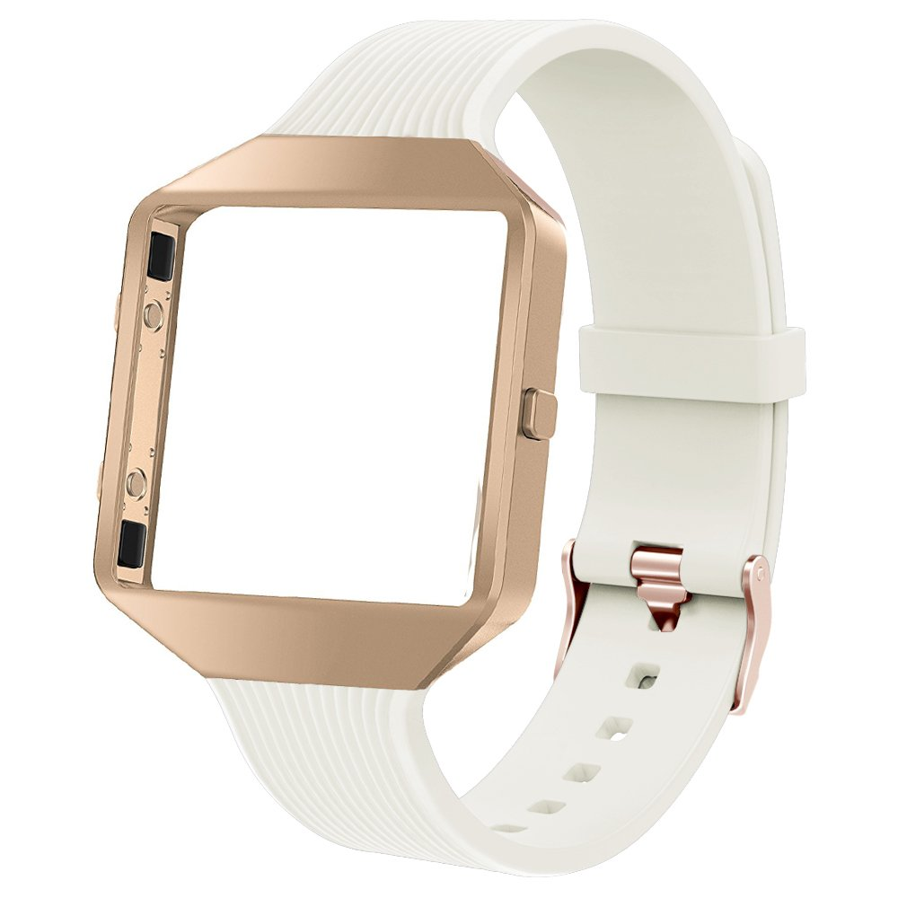 TOYOUTHS Compatible Fitbit Blaze Band, Sports Silicone Replacement Strap with Rose Gold Metal Frame