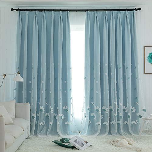 Lactraum Gardine Wohnzimmer M/ädchen Bestickt Blau Blumen Common Cosmos und Libelle Voile mit Universalband 100 x 245 cm