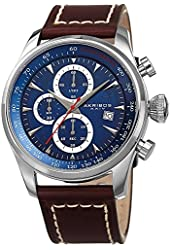 Akribos XXIV Men's Quartz Silver-Tone Case with Blue Sunray Dial with Silver-Tone Hands on Brown Genuine Leather Strap AK915BU