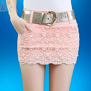 f8cc10ab0 XiaoGao Señoras Ajustada Minifalda de Encaje,S Pink: Amazon.es ...