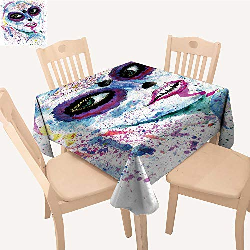 UHOO2018 Tablecloth Halloween Girl Sugar Skull Makeup Paint Square/Rectangle Table Cover,50x 53inch ()