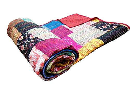 - Americana Decor's Silk Patch Work Patola Kantha Quilt, Silk Sari Kantha Bedcover Blanket (90X108 INCH)