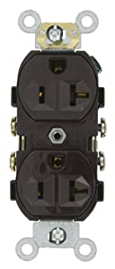 Leviton CR20 20-Amp, 125-Volt, Narrow Body Duplex Receptacle, Straight Blade, Commercial Grade, Self Grounding, 10-Pack, Brown, Piece