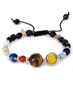Uhat® - Bracelet réglable - Fait à la main - Système solaire - Univers - Galaxie - Les huit planètes - Étoile gardienne - Avec perles en pierre naturelle