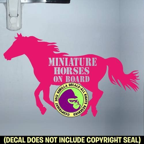 MINIATURE HORSES ON BOARD Body Trailer Vinyl Decal Sticker (Halter Brush Train)