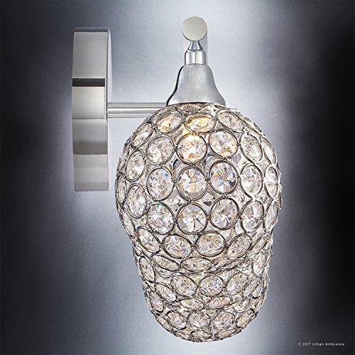 Luxury Crystal Globe LED Bathroom Vanity Light, Medium Size: 8''H x 23''W, with Modern Style Elements, Polished Chrome Finish and Crystal Studded Shades, G9 LED Technology, UQL2631 by Urban Ambiance by Urban Ambiance (Image #4)