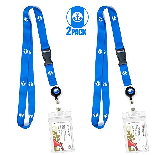 Cruise Lanyard & Key Card Holder [2-Pack] Retractable Reel & Detachable Waterproof ID Holder (Blue Anchor Design) (Best Cruise Ship Reviews)
