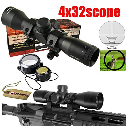 Big Save! Ledsniper®sniper Compact Scope 4x32 Rangefingder Reticle with Rings
