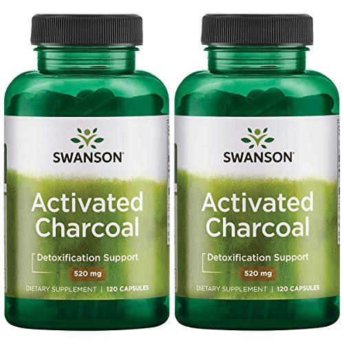 Swanson Activated Charcoal, Detox Support Supplement 260 mg, 120 Capsules, 60 Servings, 520 mg per Serving (2 Pack) ()