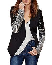 Sequin Button Long Sleeve Patchwork Suit