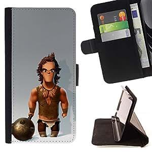 Momo Phone Case / Flip Funda de Cuero Case Cover - Músculos Caveman Club de Nieve - Sony Xperia Z5 5.2 Inch (Not for Z5 Premium 5.5 Inch)