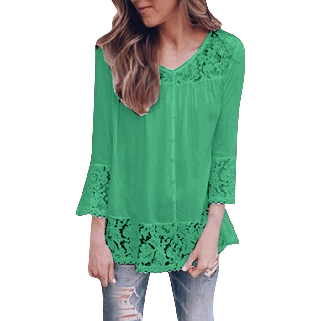 Sayhi Women Fashion Lace Print Hollow Out Blouse O-Neck Solid Casual T-Shirt Tops Autumn Loose Pullover (Green,XL) by Sayhi