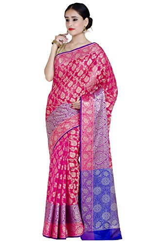 Chandrakala Women's Pink Cotton Silk Blend Banarasi Saree,Free Size(1291PIN)
