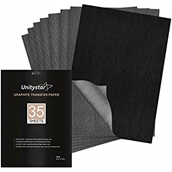 """Graphite Paper, UnityStar Carbon Transfer Tracing Paper 35 Sheets (9"""" x 13"""") for Tracing on Paper Wood Metal Painted Canvas or Other Art Surfaces, for Artists, Black"""