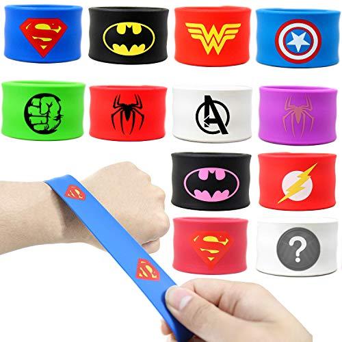Coolinko Superhero Slap Bracelet for Kids Boys & Girls Birthday Party Supplies Favors (12 Pack) -