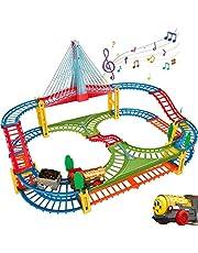 HOMCENT Trein Speelgoed, Rails Set met Muziekbrug en LED Verlichting voor Kinderen, Peuters, Jongens en Meisjes 3 jaar en ouder
