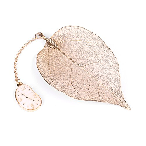 (1 Pc Gold Metal Leaf Bookmark with Alice Rabbit Clock Pendant for Book Paper Reading (Clock ))