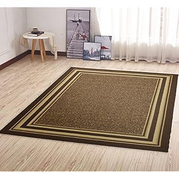 Ottomanson Ottohome Collection Contemporary Bordered Design Non Skid Slip Rubber Backing Area Rug 50 X 66 Brown