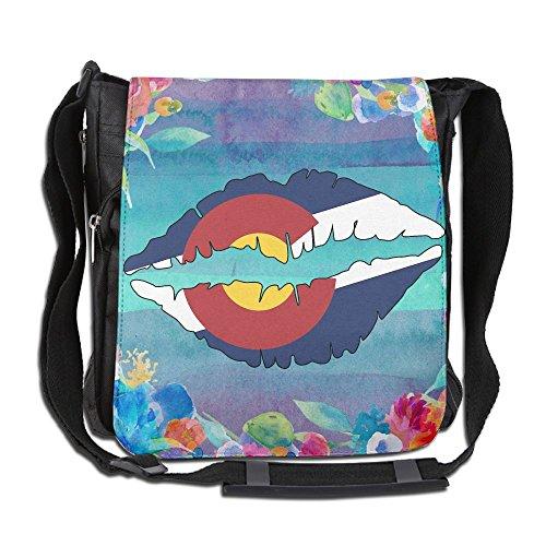Colorado State Flag Lips Unisex Casual Messenger School Adjustable Shoulder Tote Bag Travel Crossbody Bag Wide Diagonal Bag Single Shoulder Bag