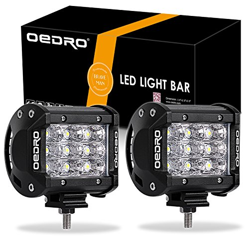 OEDRO LED Light Bar 2Pcs 27W 4 Inch LED Light Pod Spot Light Off Road Lights - Tri-Rows Design, Waterproof LED Fog Driving Light Compatible for Jeep Truck Pickup SUV ()