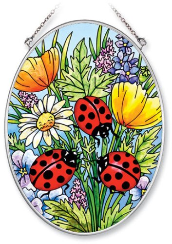 Amia 5511 Medium Oval Suncatcher with Ladybug and Flower Design, Hand-painted Glass, 5-1/2-Inch W by 7-Inch L by Amia (Image #1)