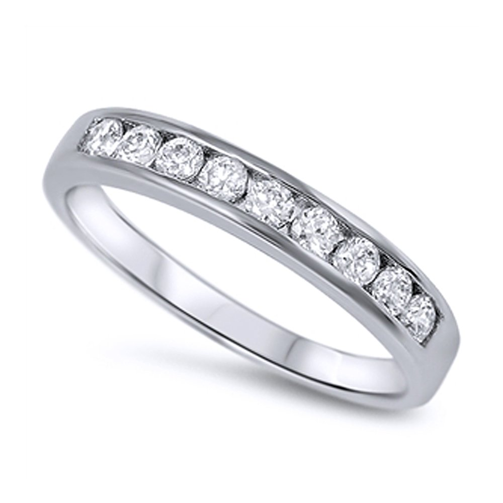 Sterling Silver Round CZ Channel Set Half Eternity Ring Band Anniversary Ring 4MM ( Size 3 to 12 ), 3
