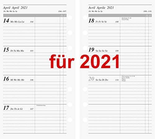 Rido Kalendarium 2021 1Wo.=2Seiten A6 Kalender 2021 93x172mm Multilochung