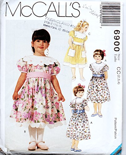 Mccalls 6900 Sew Pattern Scalloped Collar & Hem Puff Sleeves Bow Dress Options for Sizes 2-3-4 Little Girls, in Marked Envelope From 1994. ()