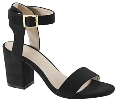c57fcc2b050 Love Mark Women's Single Band Chunky Heel Sandal with Ankle Strap