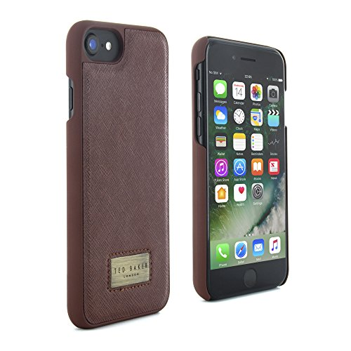- Ted Baker Official SS17 Leather Effect Hard Shell for iPhone 7 Snap on Back Cover for Apple iPhone 7 Protective Hard Case with Logo Plated - HALIDAY - Tan