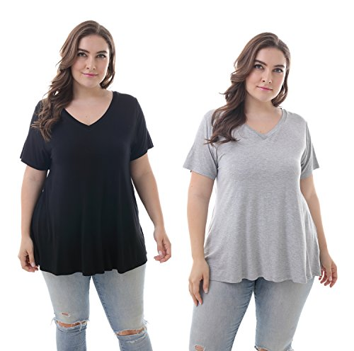 (ZERDOCEAN Women's Plus Size Modal Stretchy Short Sleeve V Neck Swing T Shirt, 2-Pack Black&LightGray 1X)