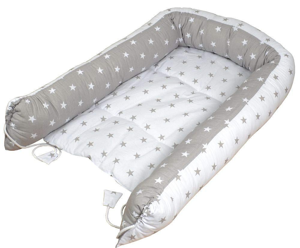 Cama Nido para Bebe para Acurrucarse Reductor Protector de Cuna 90 x 60 cm Gris en las estrellas