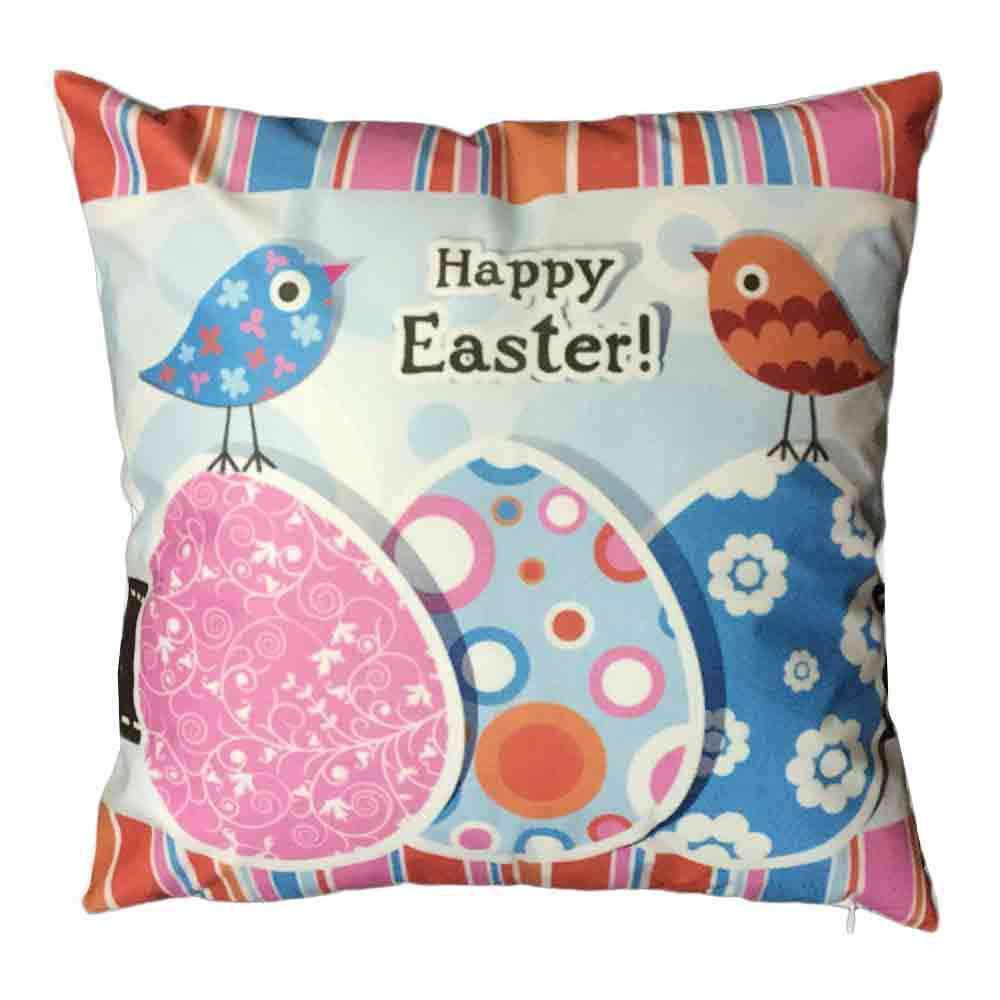 Pgojuni Easter Sofa Bed Home Decoration Festival Pillow Cover Easter Eggs Pillow Case Cushion Cover (F)