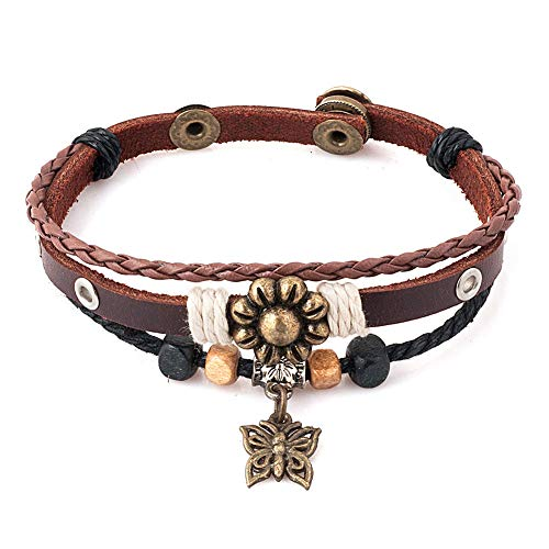CLY Jewelry Multi-Layer Leather Braided Wrap Bracelet with Copper Flower Butterfly and Ethnic Tribal Beads Fashion Casual Brown Bracelet Gift for Men Women