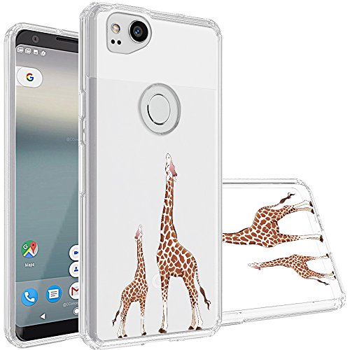 Google Pixel 2 Case,Topnow [Anti-Scratch PC + Shockproof Anti-Drop Soft TPU] Advanced Printing Pattern Phone Cases Glossy Drawing Design Cover for Google Pixel 2(Looking Giraffe) (Best Looking Pc Cases)