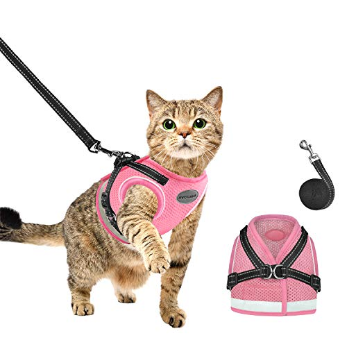 AVCCAVA Cat Harness and Leash for Walking, Kitten Escape Proof Harnesses, Adjustable Reflective Puppy Vest Harness with…