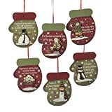 Pack of 24 Red and Green Winter Mittens with Snowman Wooden Christmas Ornaments 4.5''