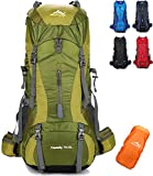 onyorhan 70L+5L Backpack Travel Trekking Hiking Camping Climbing Mountaineering Rucksack for Men Women (Green)