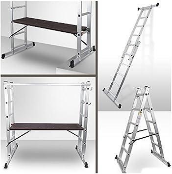 Andamio transformable en escalera telescópica o escalera: Amazon.es: Bricolaje y herramientas