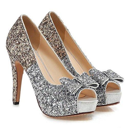 Femme Peep Mode Aiguille Avec Bow Escarpins Chaussures Enfiler A Talons Toe Or Basse Coolcept qTBdZfT