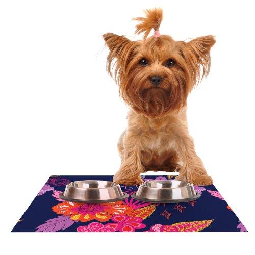 Kess InHouse Anneline Sophia Tropical Paradise  Purple Floral Feeding Mat for Pet Bowl, 18 by 13