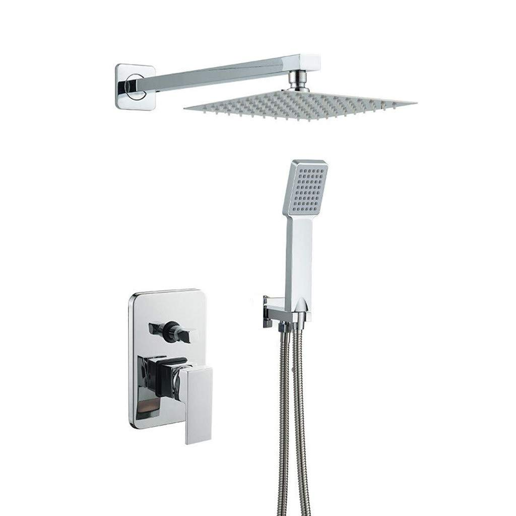 10 Inch Bathroom Luxury Rain Mixer Shower Combo Set Wall Mounted Rainfall Shower Head System Polished Chrome Shower Faucet Rough-in Valve Body and Trim Included by Toonshare