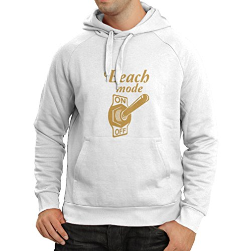 lepni.me Unisex Hoodie Beach Mode On! Humor Summer Vacation Travel Quotes (Large White Gold) (Cat-amerikanische Flagge)