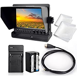 """GOWE 7"""" Aluminum IPS 1280x800 Camera-Top Monitor w/ Waveform Scopes HDMI to SDI +Battery+Charger+Micro HDMI Cable"""